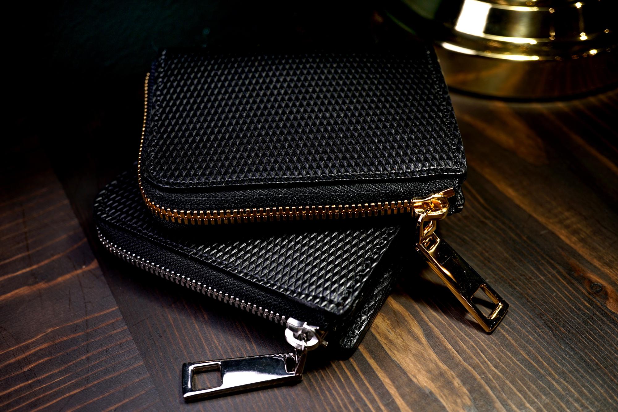 男女兼用!ゴージャスな薄型L字ファスナーミニ財布(牛革製)