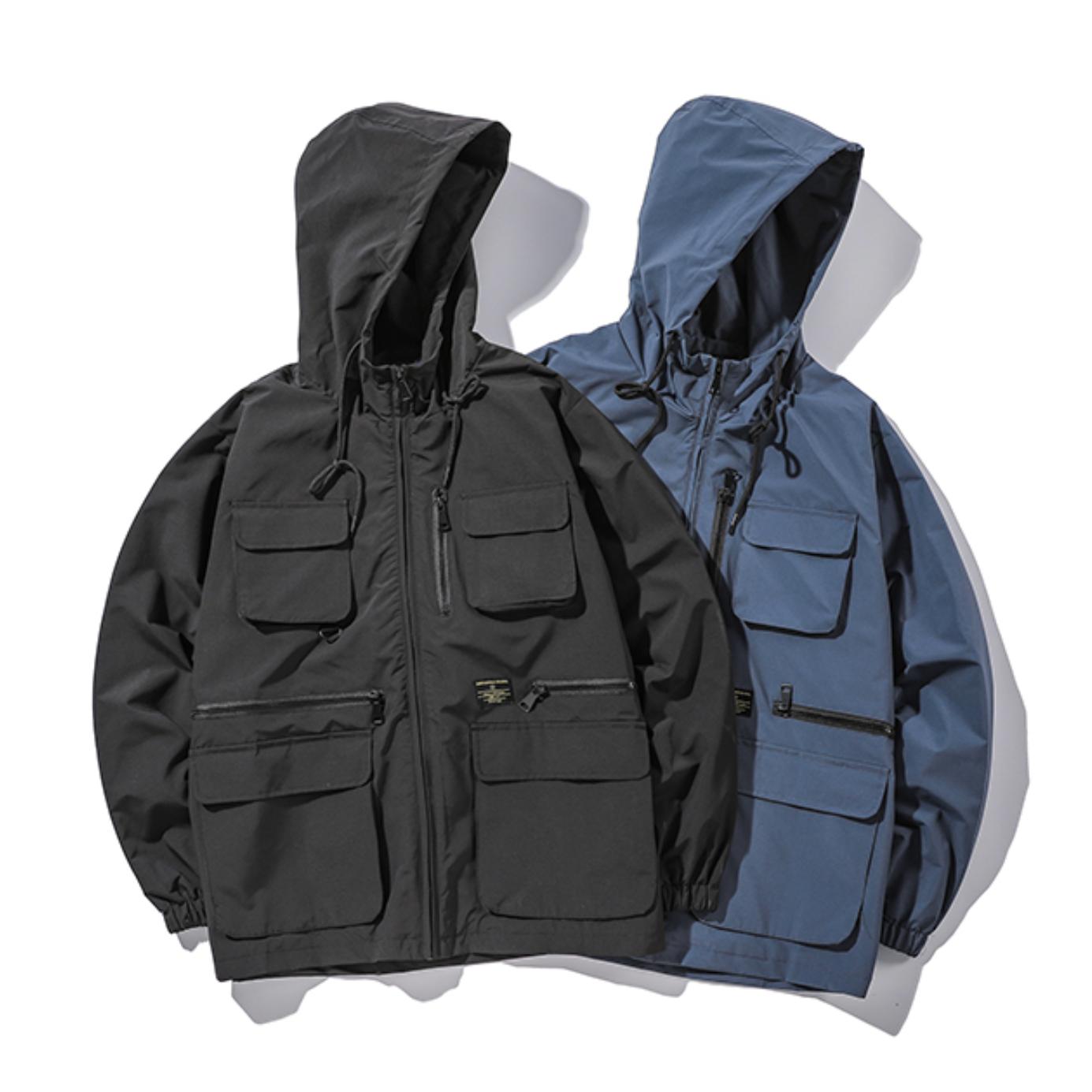 【UNISEX】ウィンドルース カップル マルチポケットフード ジャケット 【2colors】UN-532