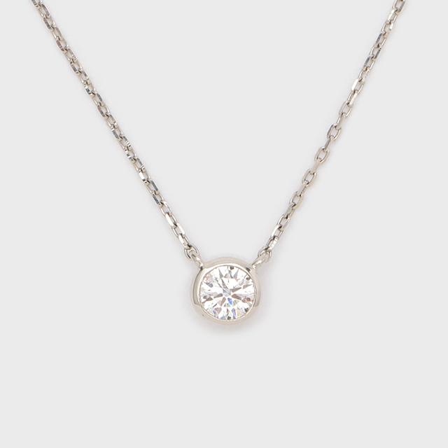 ENUOVE frutta Diamond Necklace Pt950(イノーヴェ フルッタ 0.3ct プラチナ950 フクリン留めダイヤモンドネックレス アジャスターワカンチェーン)