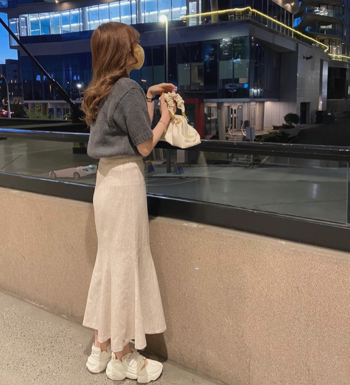 【RE】DAYNYC bottleneck half sleeve knit (charcoal)