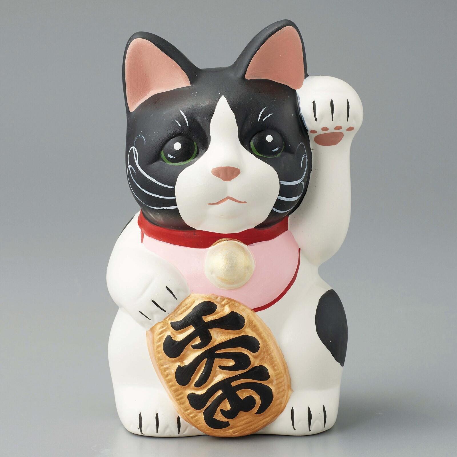 猫貯金箱(招き猫アトリエ巧)黒ブチ