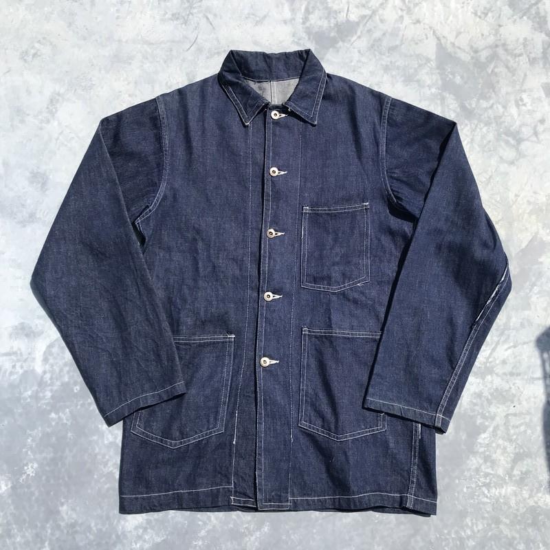 40's UNKNOWN デニムカバーオール 大戦モデル ドーナツボタン ダブルステッチ 濃紺 38 Chore Jacket ワーク 希少 ヴィンテージ