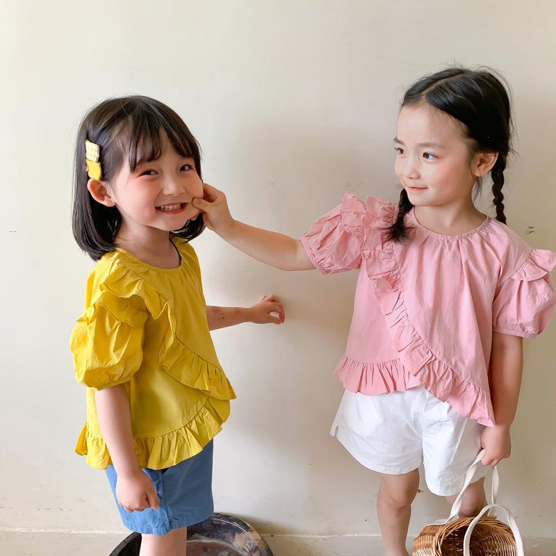 【夏物SALE】30%off【即納】フリルトップス ベビーカラー 韓国子供服 夏 シンプル