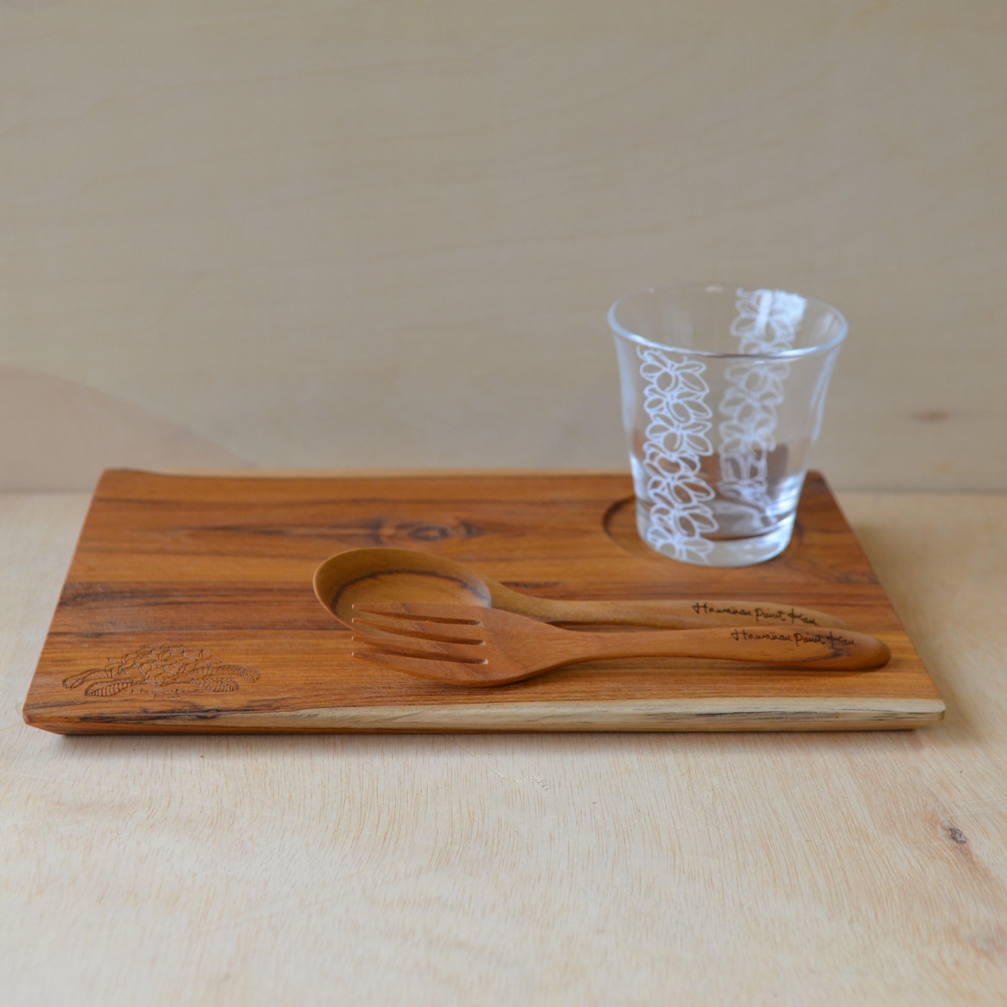 Wood Gift set L (Wood plate L / Wood spoon&fork / Glass)