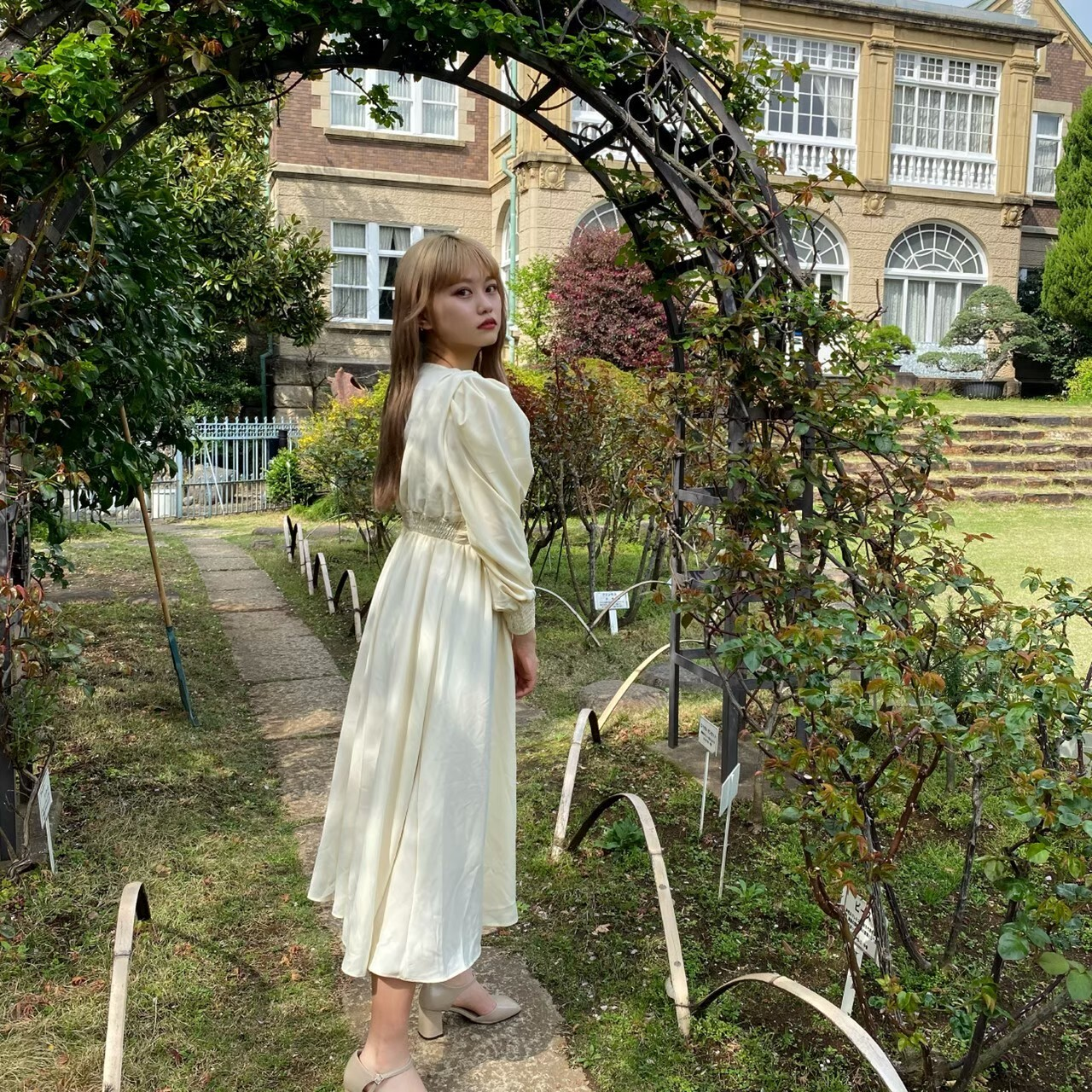 【Belle】LAST2 long gather onepiece / ivory