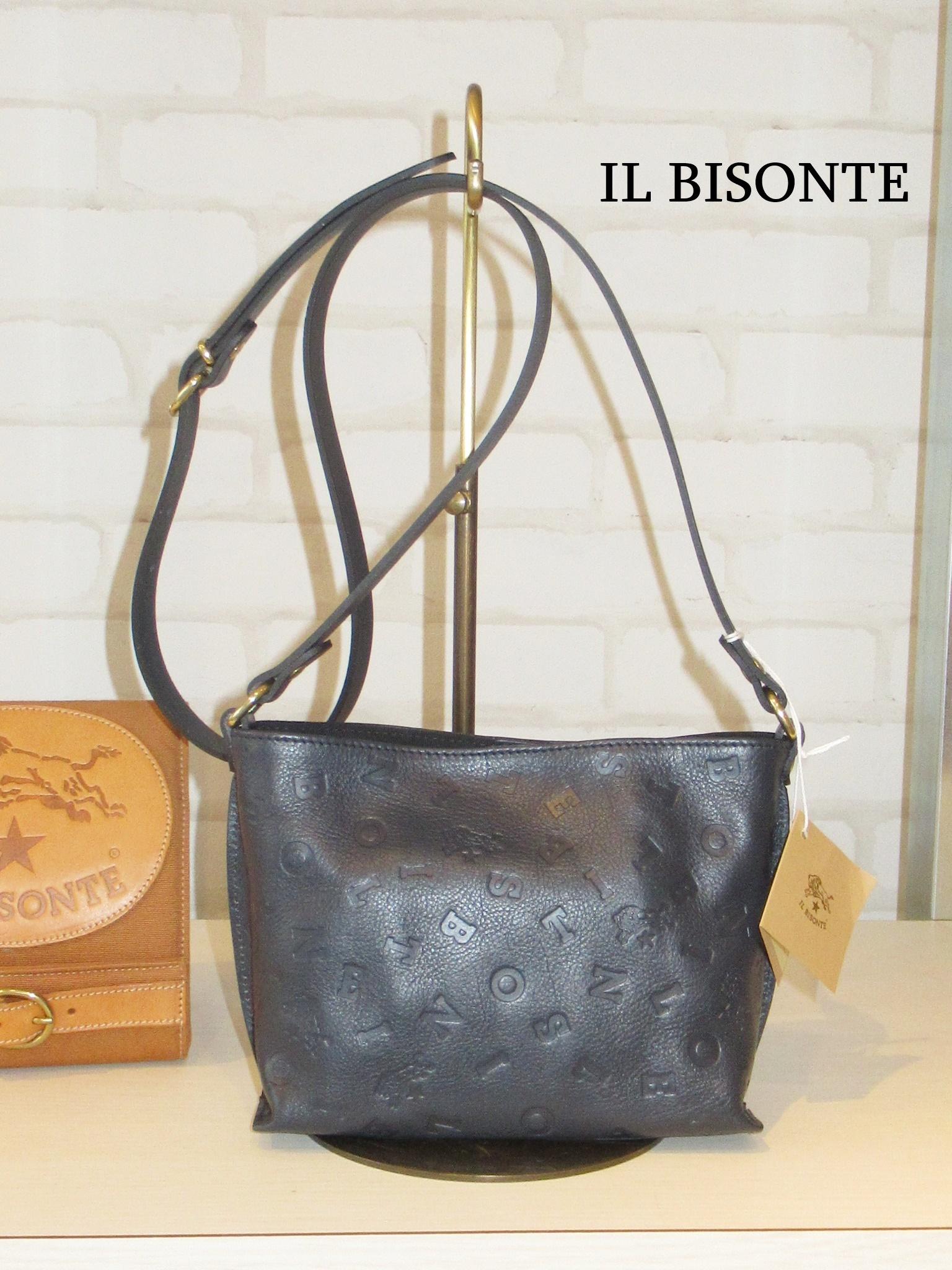【日本限定】IL BISONTE/09110/ロゴエンボスショルダーバッグ(ネイビー)