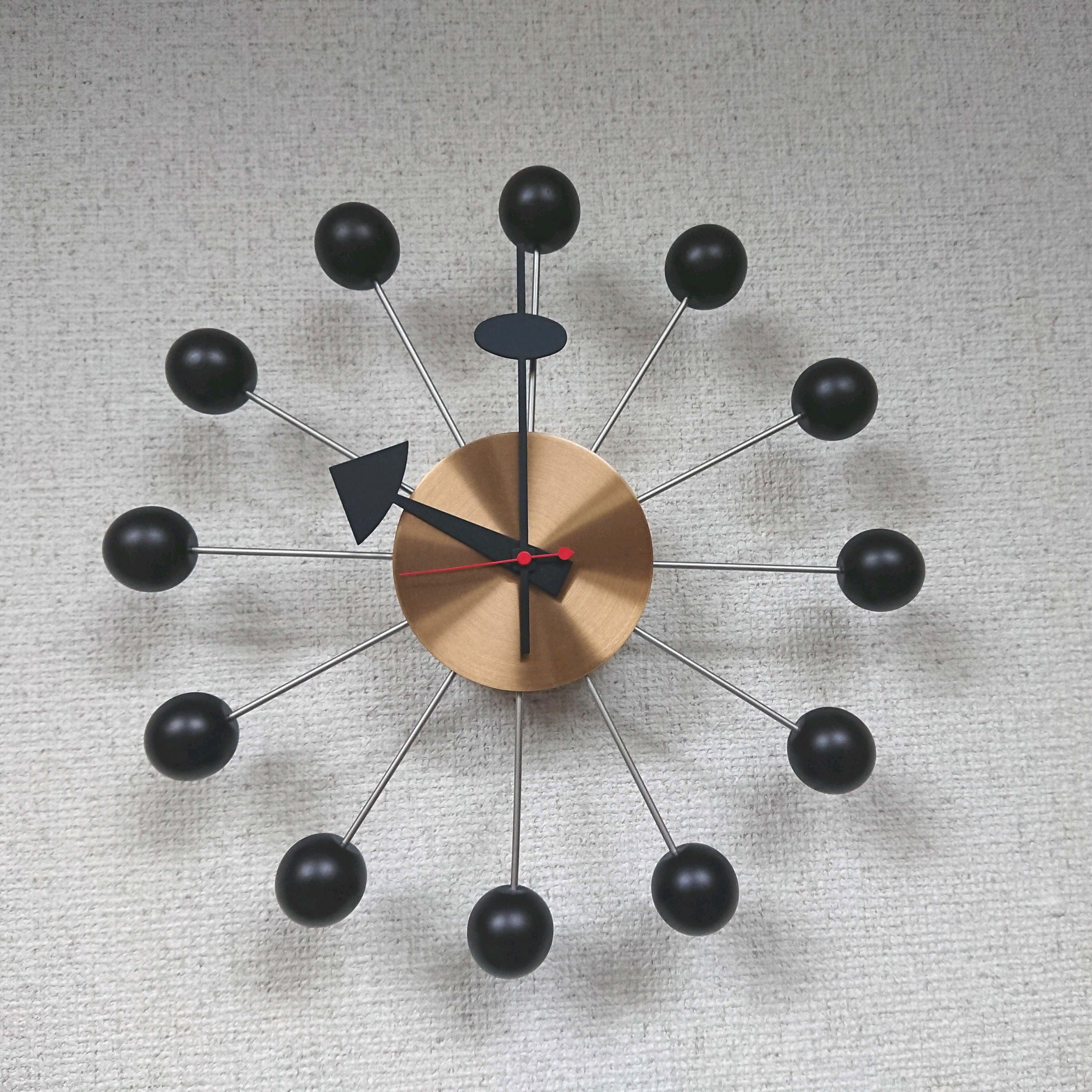 Vitra/ヴィトラ George Nelson/ジョージ・ネルソン ボールクロック 正規品 ブラックカラー 秒針付 ネルソンクロック