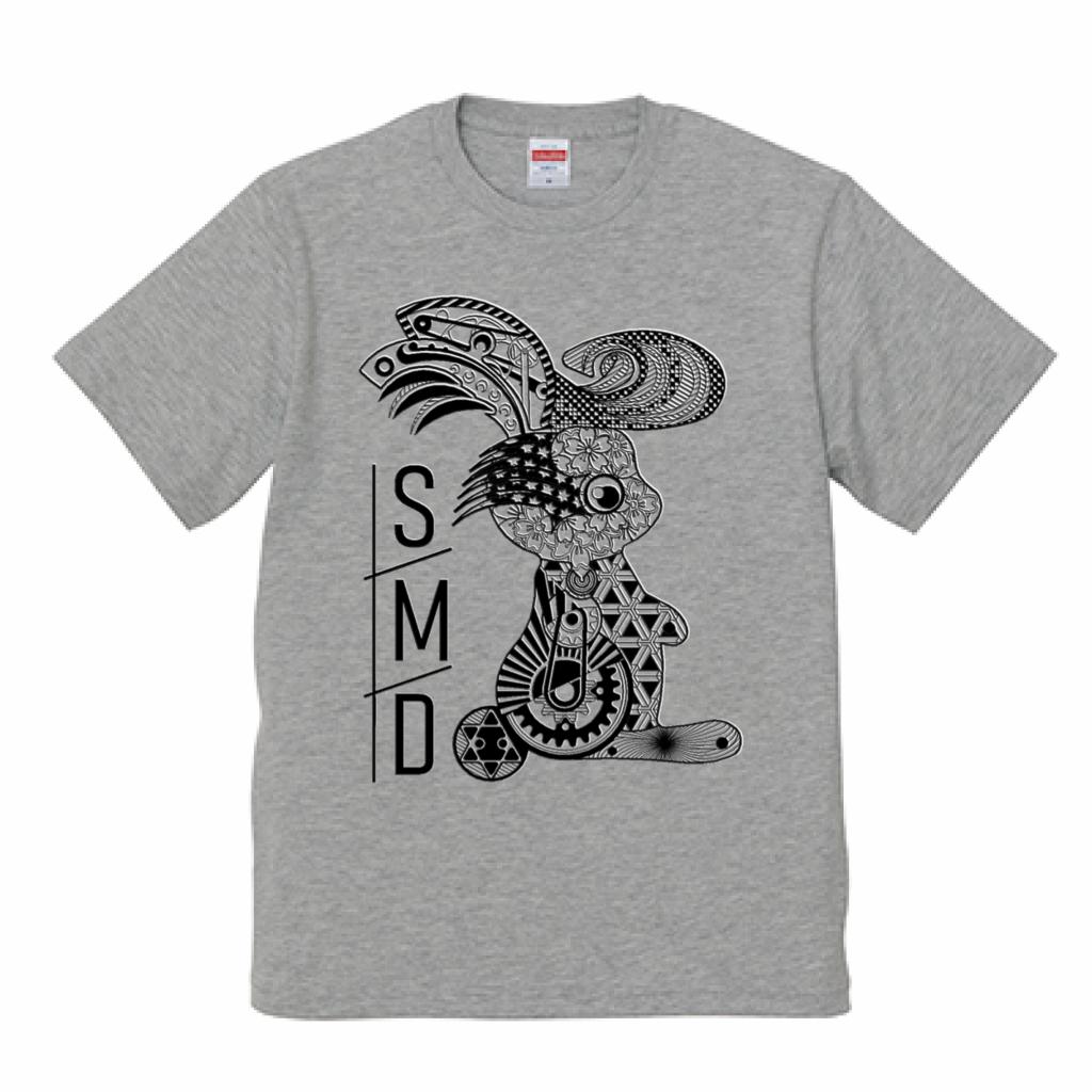 ★リーゼントうさぎTシャツ★ 半袖グレーT / 黒印刷ver 5.0oz