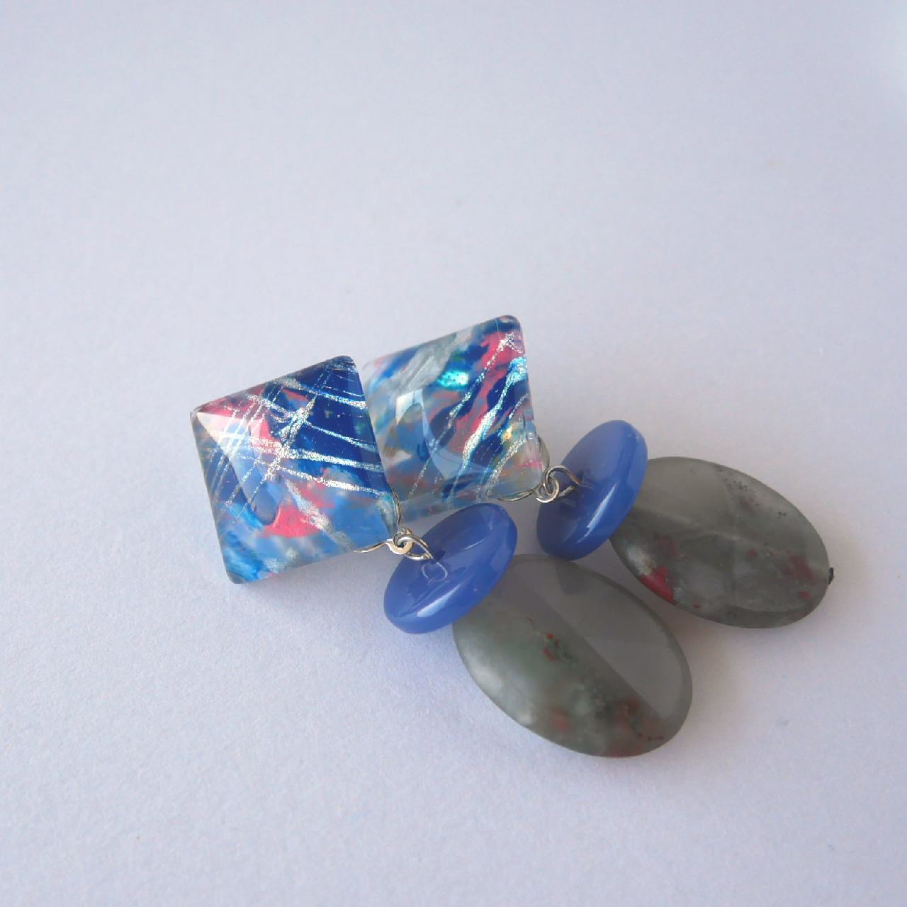 """ Earrings NO.0-1906″ スクエアペイントとヴィンテージと天然石"