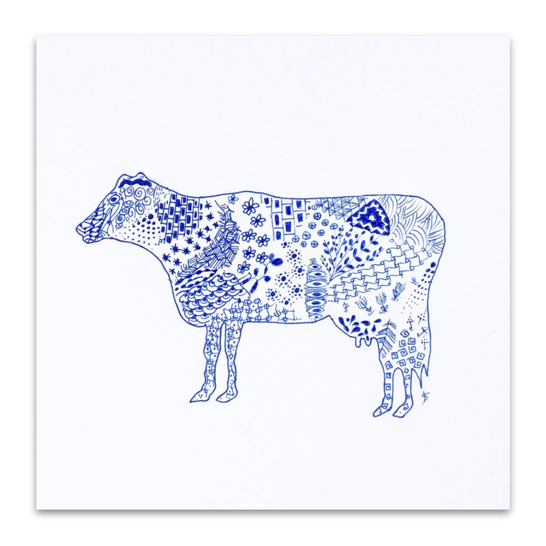 手描きの牛の絵のメッセージカード|Hand Drawn Cow Picture Message Card