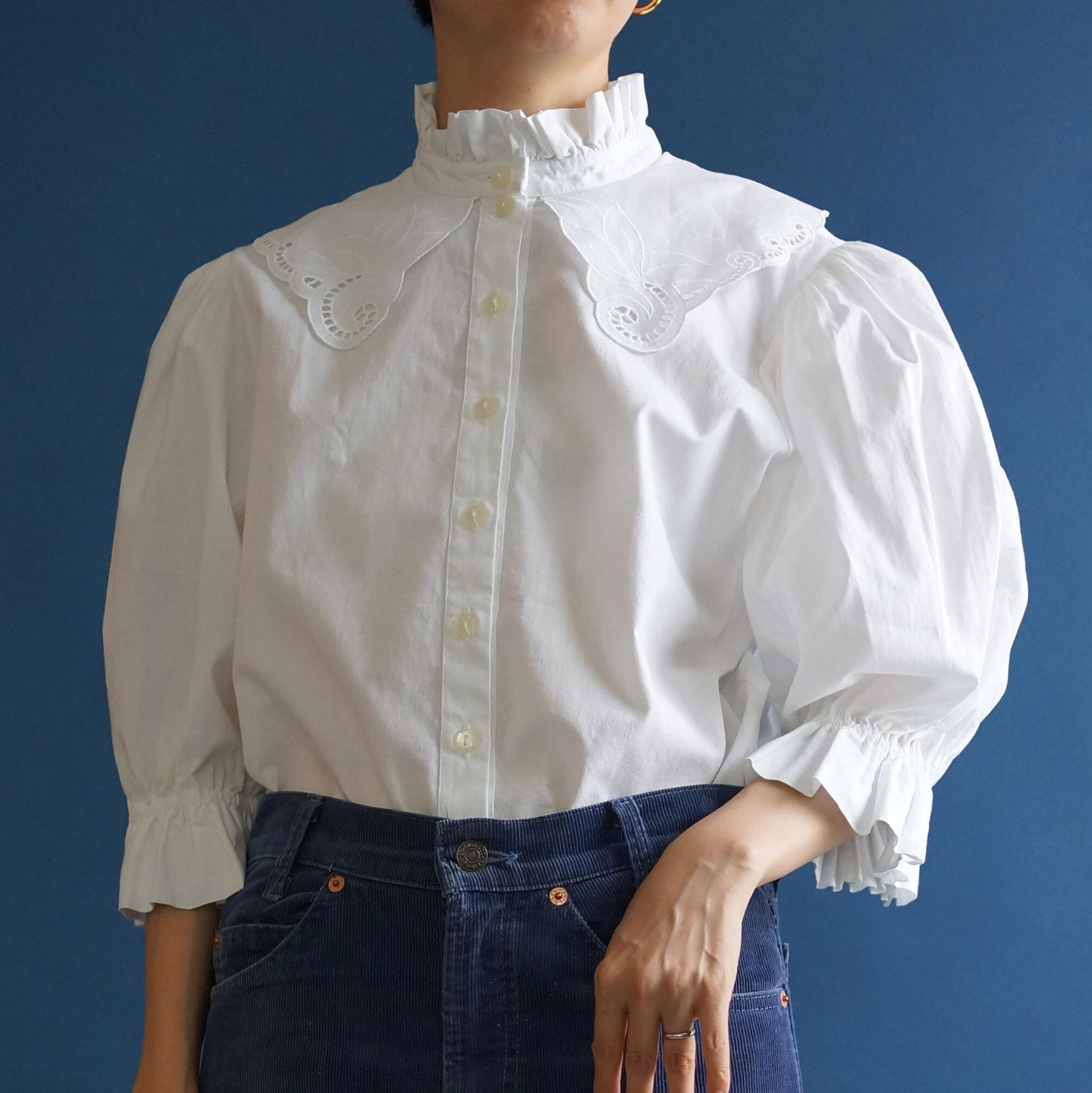 【送料無料】80's Vintage White Austrian Edwardian style Blouse(80年代 ヴィンテージ アンティーク 古着 レース ブラウス)
