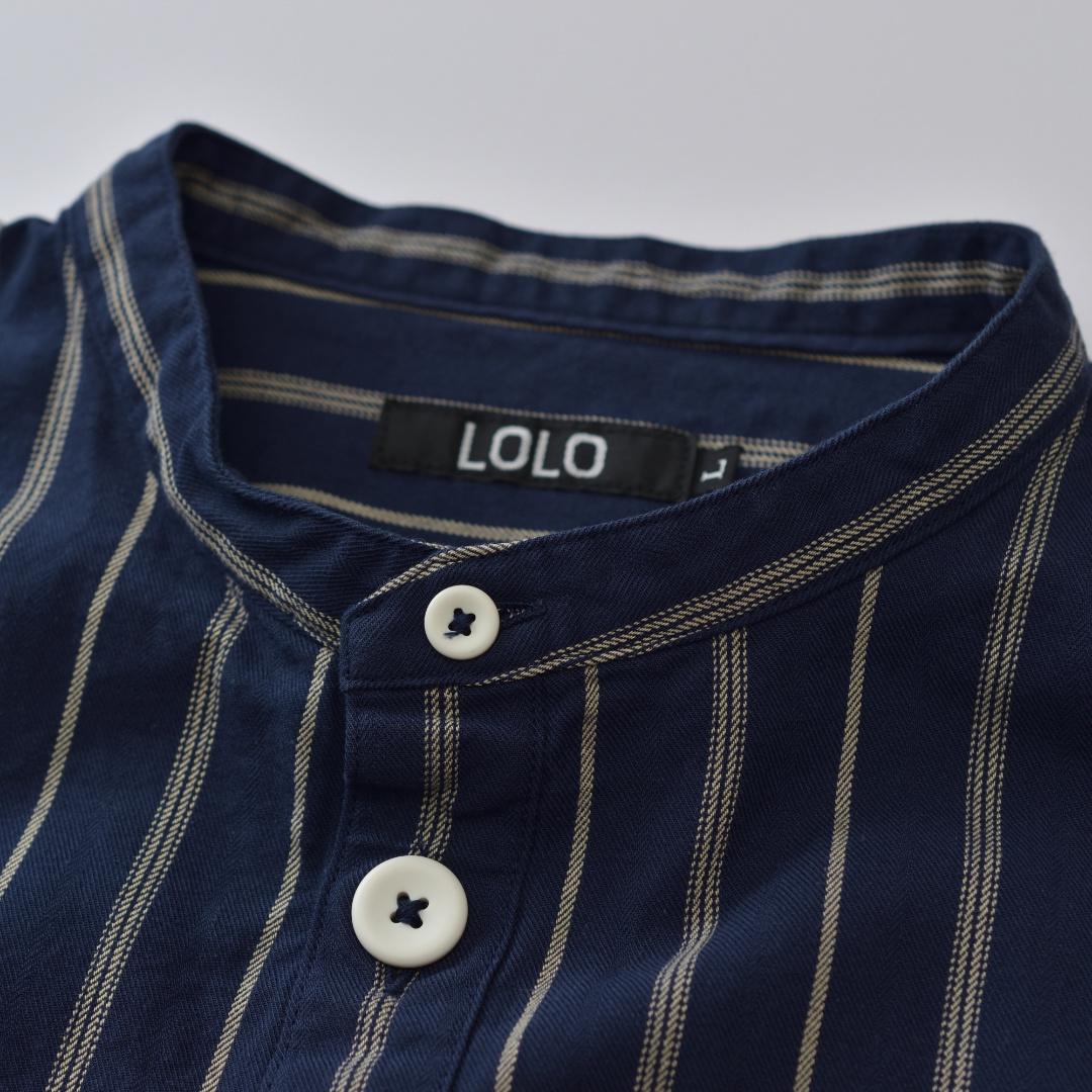LOLO ロロ スタンドカラーストライプシャツ・ネイビー【メンズ】