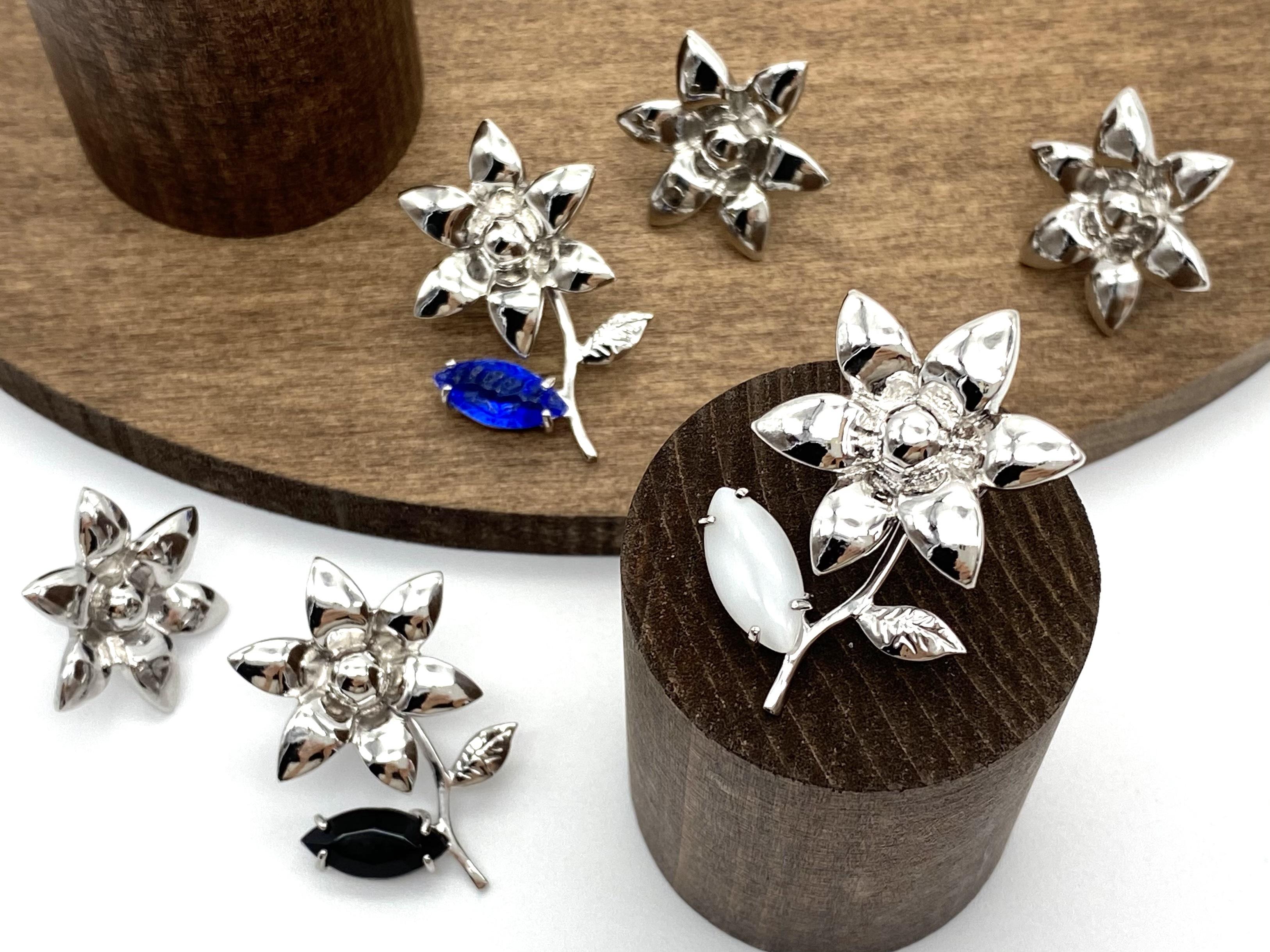 Joyeux ー silver ー [ earrings + leaf bijou ]