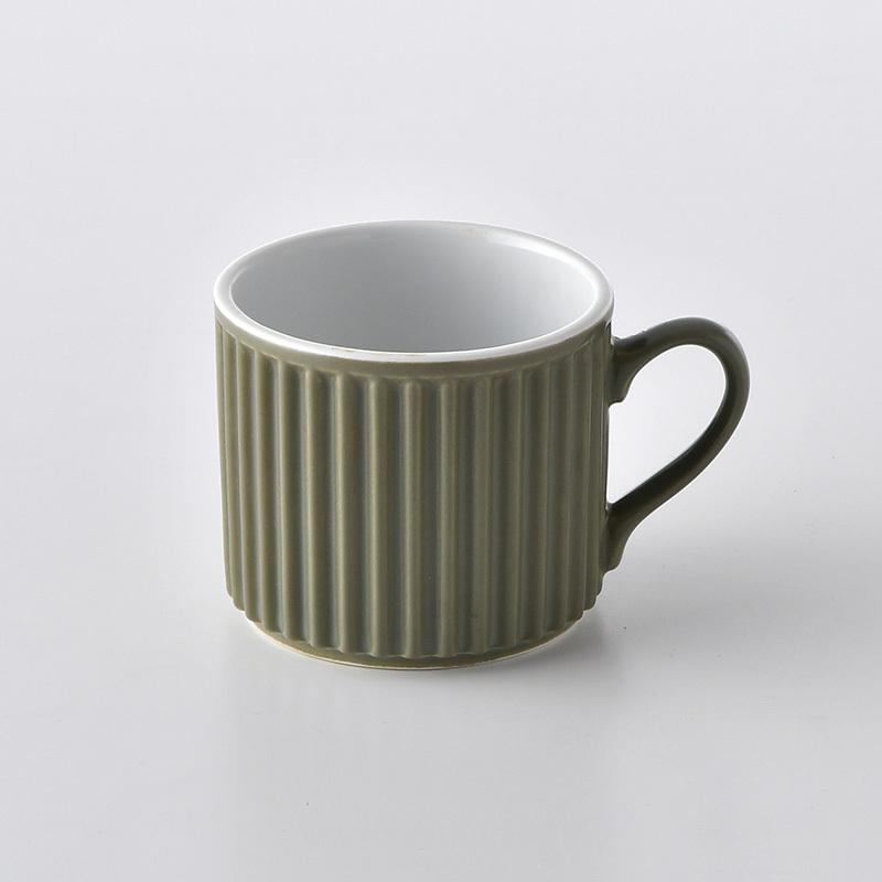 ギア マグカップ(小皿付)(抹茶色)