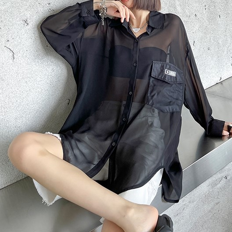 長袖シアーシャツ   1-089