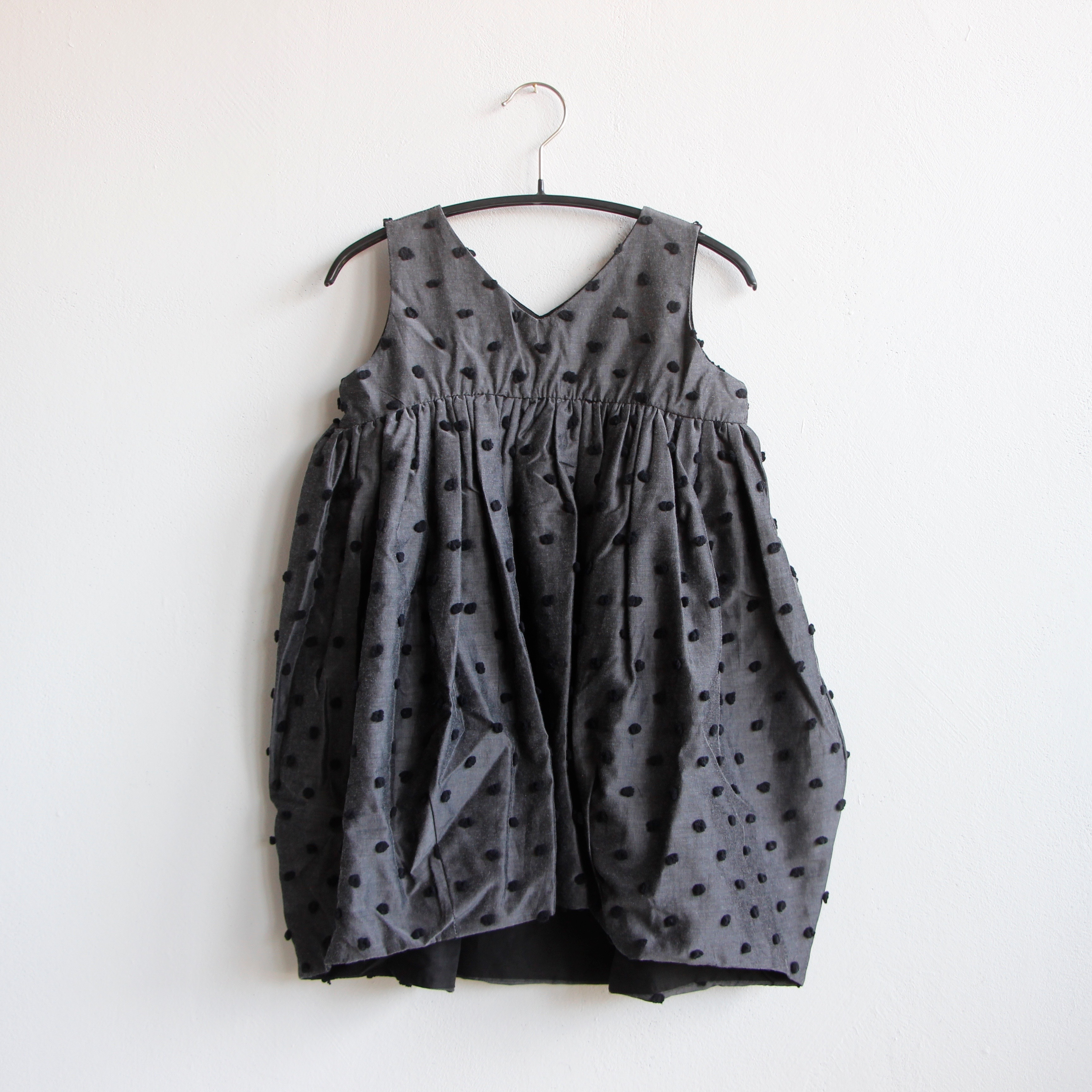 《frankygrow 2020SS》BONBON CUT JQ V-NECK DRESS / gray × black bonbon / LL