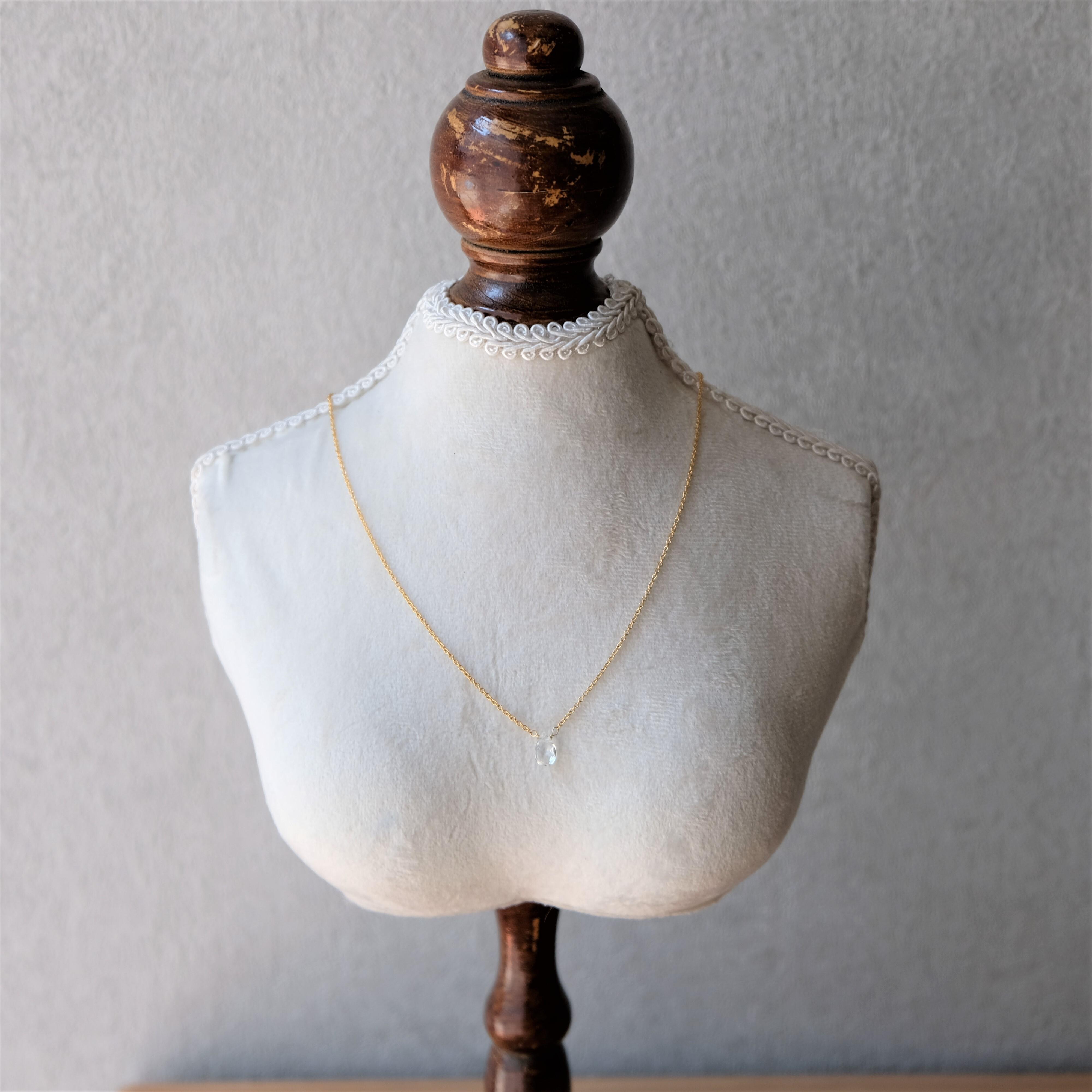 【14kgfネックレス】天然石のネックレス(ホワイトトパーズ)