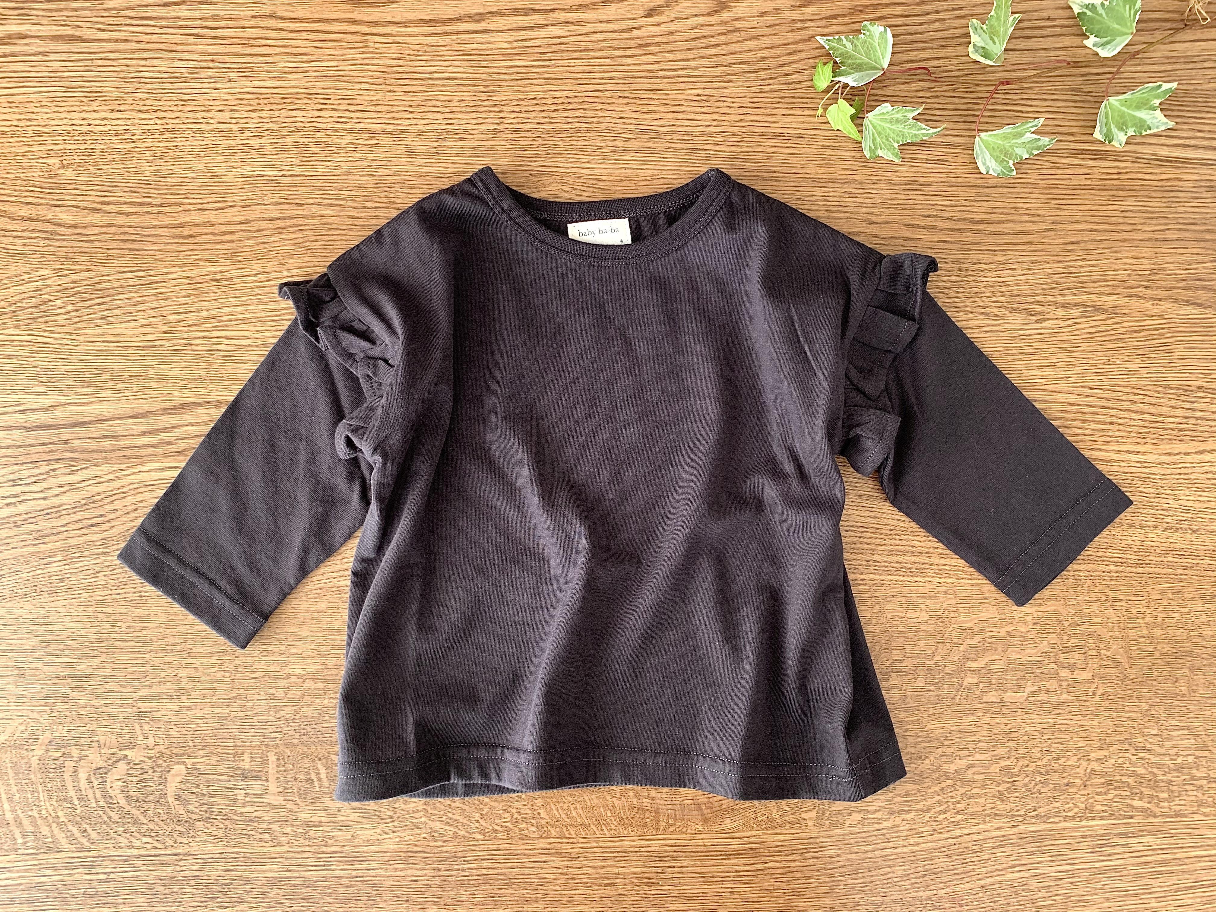 肩フリルの長袖シャツ・黒色 85cm~90cm