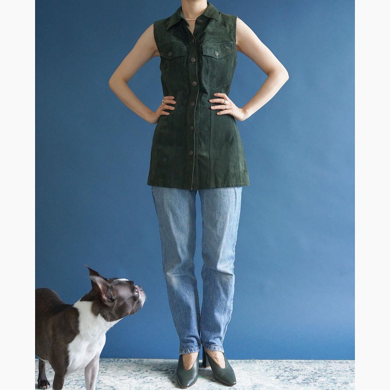 90's green suede long vest dress