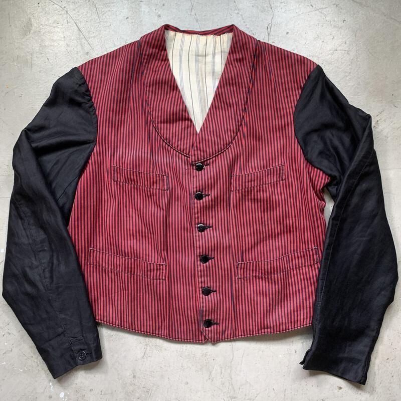 20's 30's French servant jacket フレンチサーヴァントジャケット シンチバック ホテルマン 使用人 ストライプ ベストジャケット アンティーク ユーロ S~M 希少 ヴィンテージ BA-1491 RM1910H