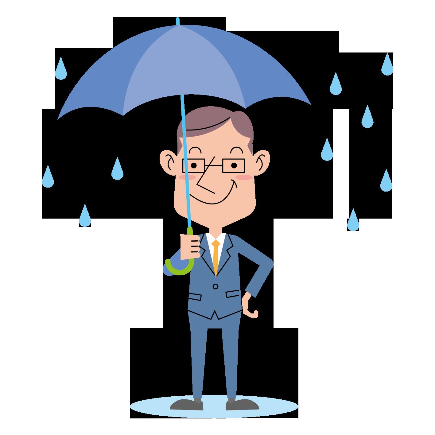〈無料イラスト素材〉雨の日イメージの表情・ポーズいろいろ