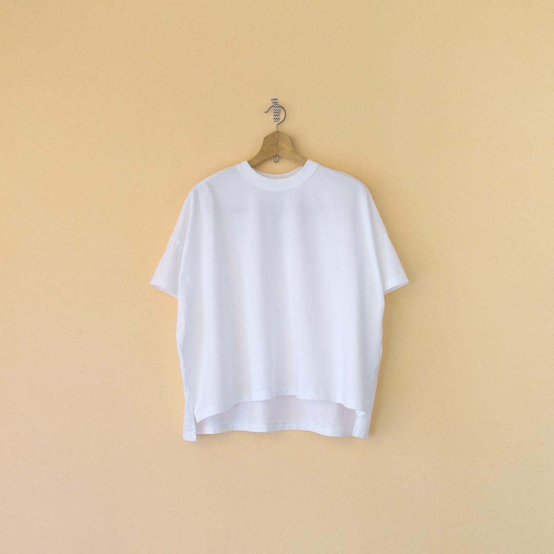 TRAVAIL MANUEL トラバイユマニュアル クラシック天竺スリットTシャツ・ホワイト