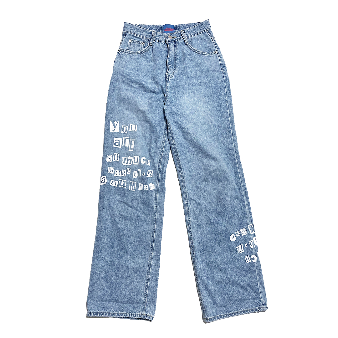 【Crudely Hommes】''You are so much more than a number'' Custom Printed Denim