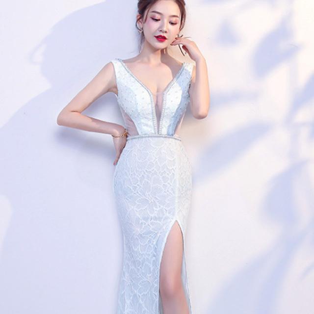 YN2094  レースロングドレス ·ビーズドレス
