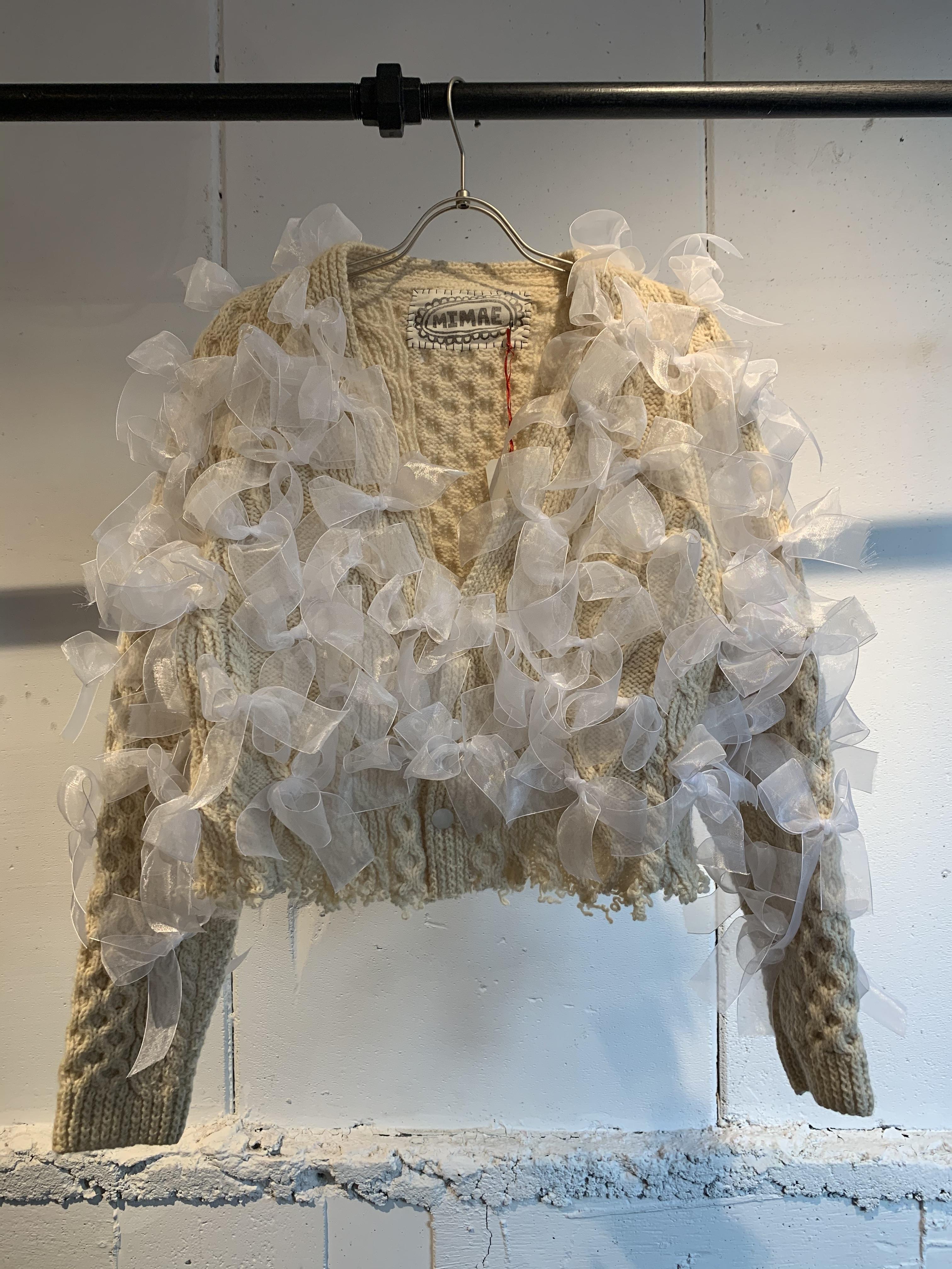 MIMAE   ribbon knit cardigan