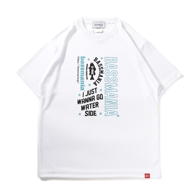 BASSMANIAロゴ UV DRY Tシャツ[WHT×BLU]