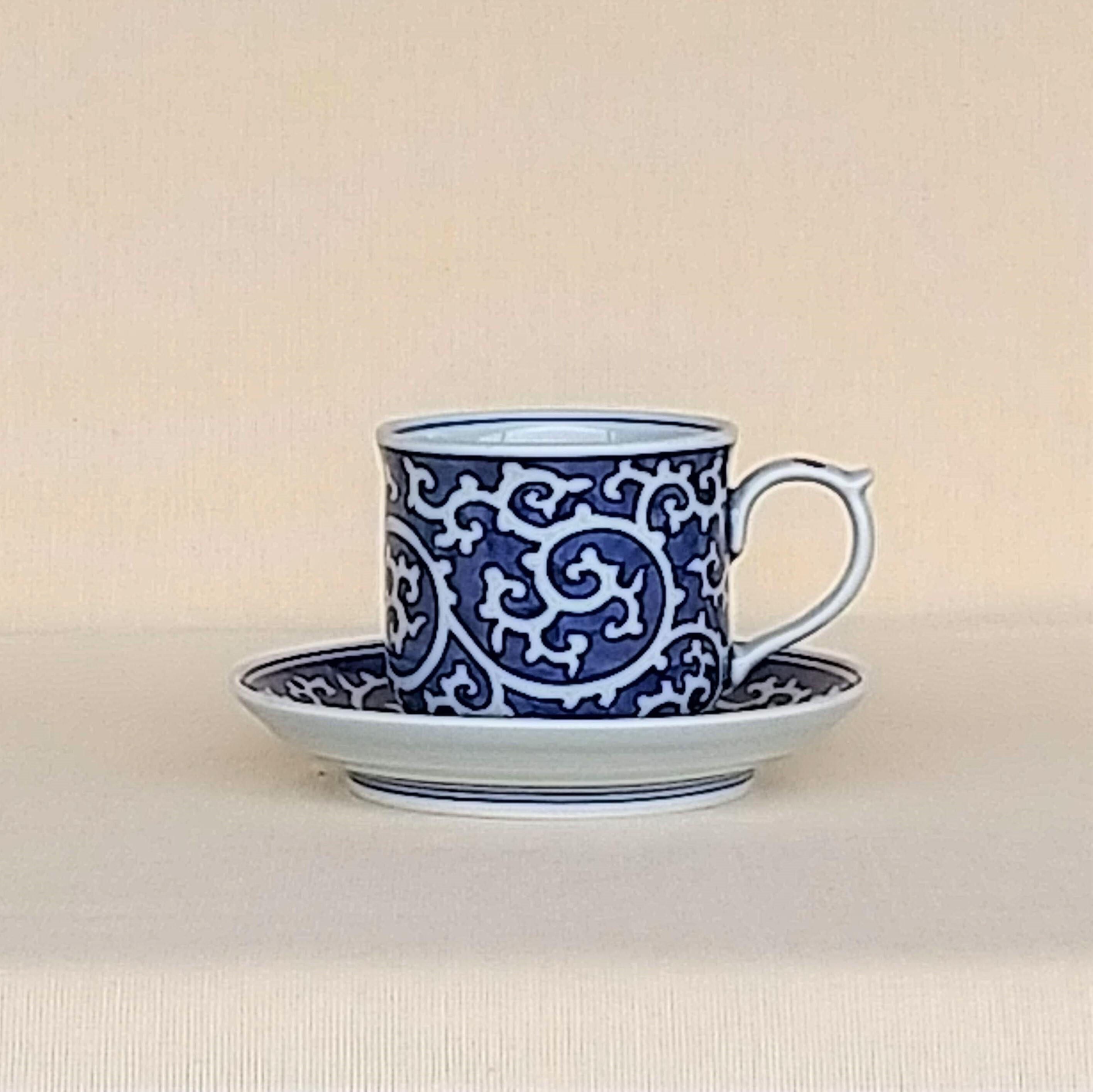 伐太郎窯 染付 濃唐草 コーヒー碗皿