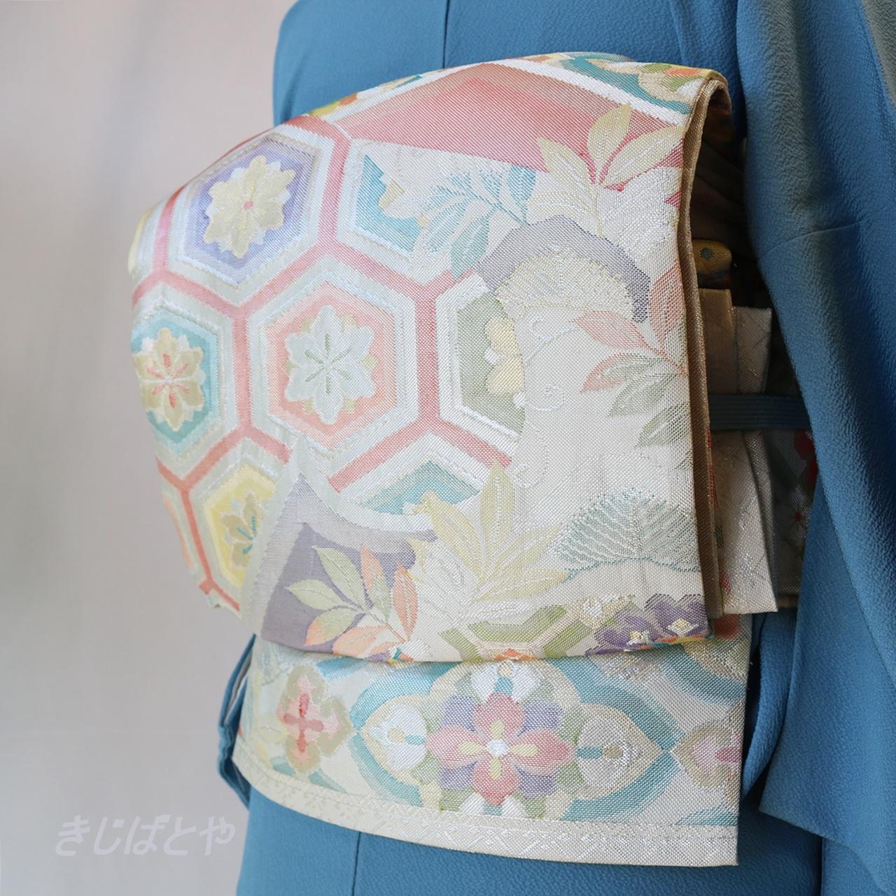 正絹 白地に亀甲の袋帯