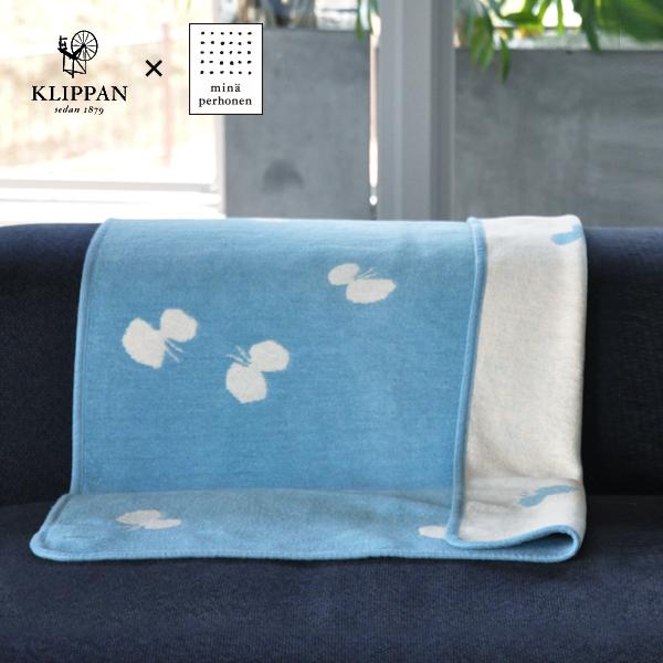 KLIPPAN シュニールコットンブランケット CHOUCHO by mina perhonen ライトブルー ミニサイズ