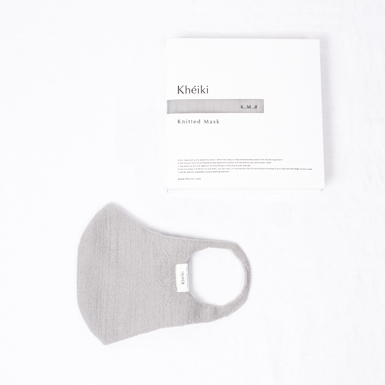 Knitted Mask 2pcs Set / KMK / Mercerized Long Staple Cotton / #Pale Gray