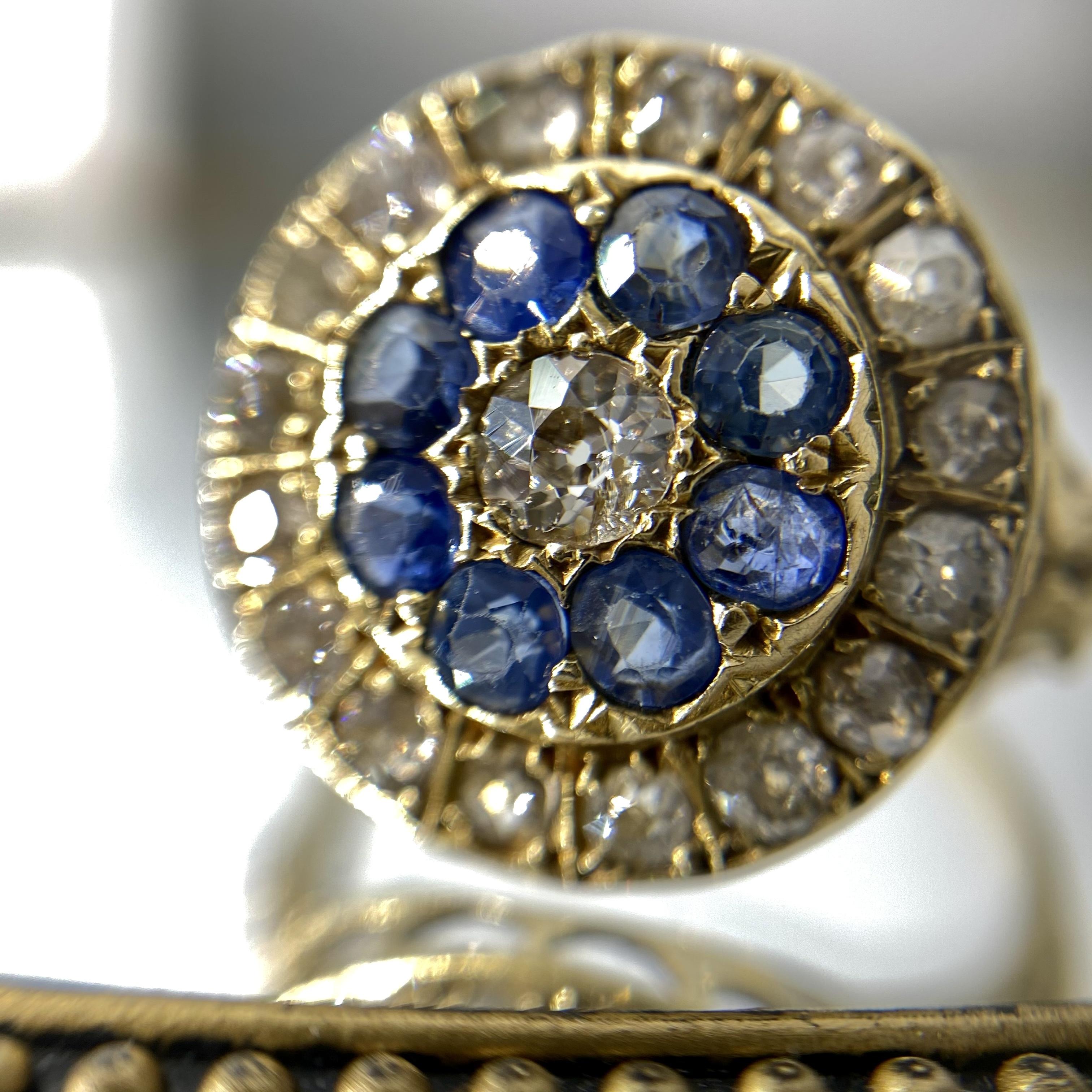 イギリス1894年 アンティークリングK18 指輪 サファイア ダイヤモンド
