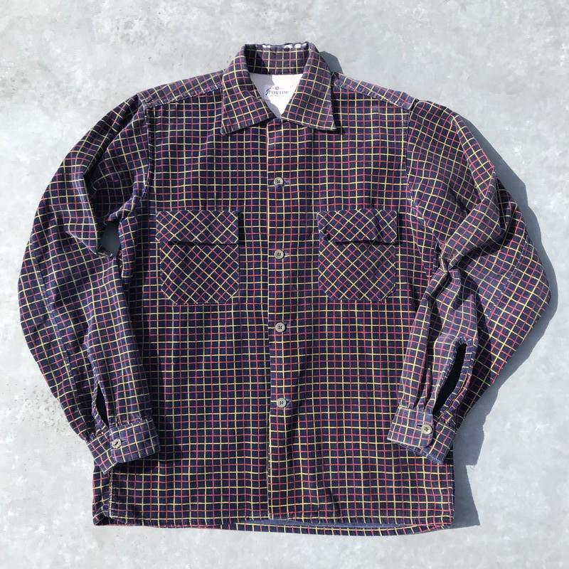 50's SPORTOP プリントコーデュロイシャツ チェック ウィンドウペン ネイビー 14 Sサイズ 希少 ヴィンテージ
