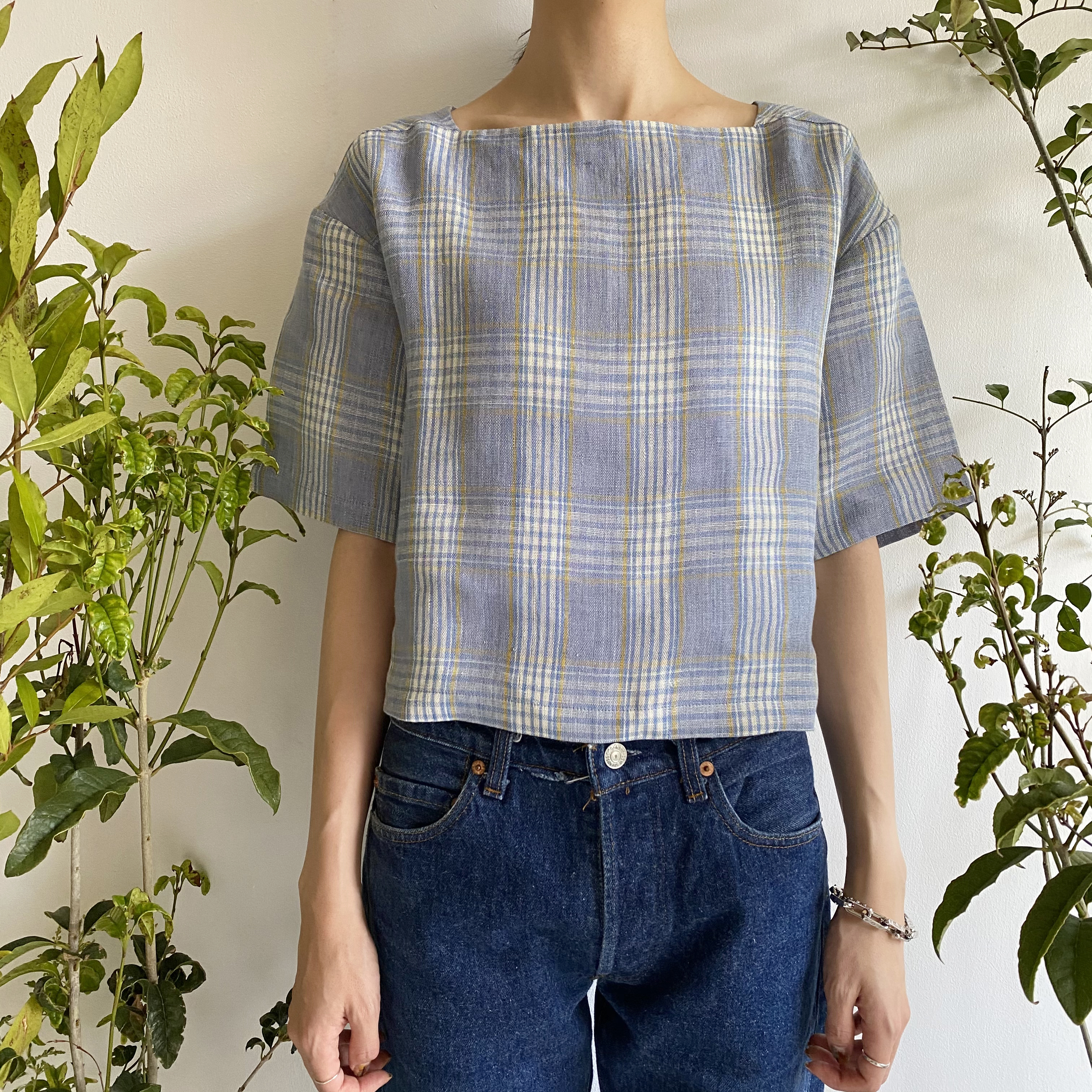 """Square neck short top """"blue & yellow check"""""""