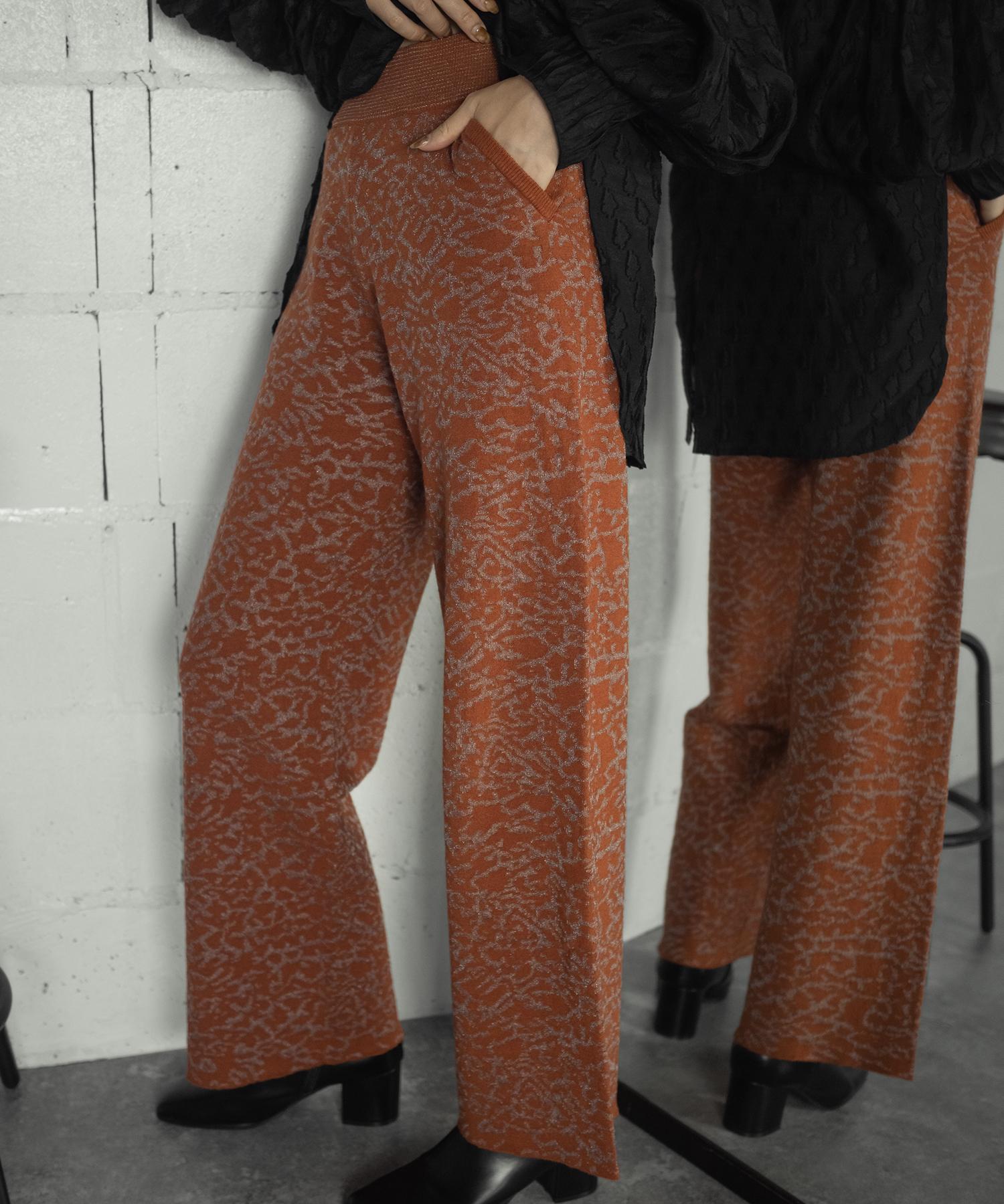 JACQUARD KNIT PANTS(ORANGE)