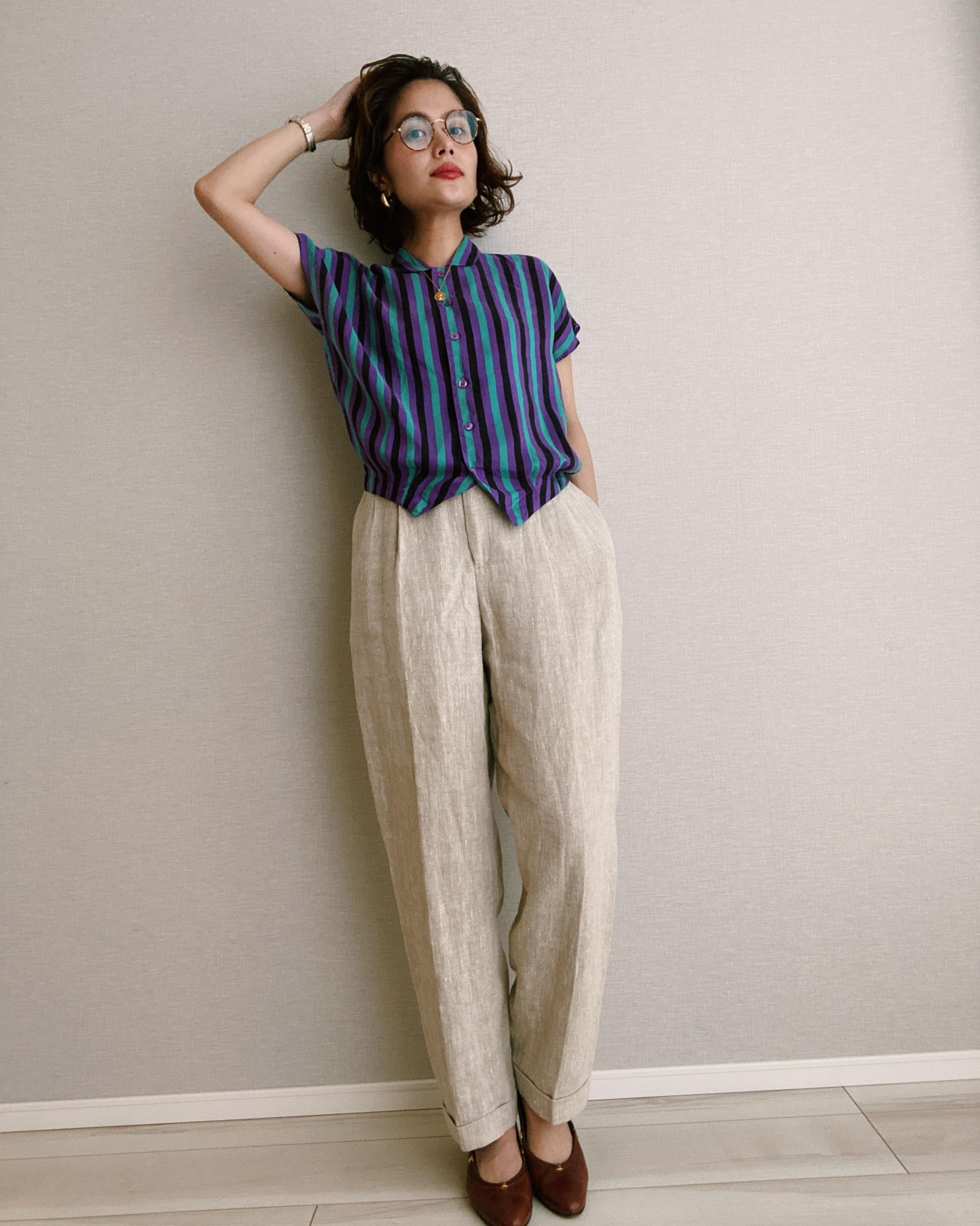 (PT237)Linen 2 tuck pants