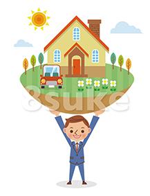 イラスト素材:マイホームを支えるビジネスマンのイメージ(ベクター・JPG)