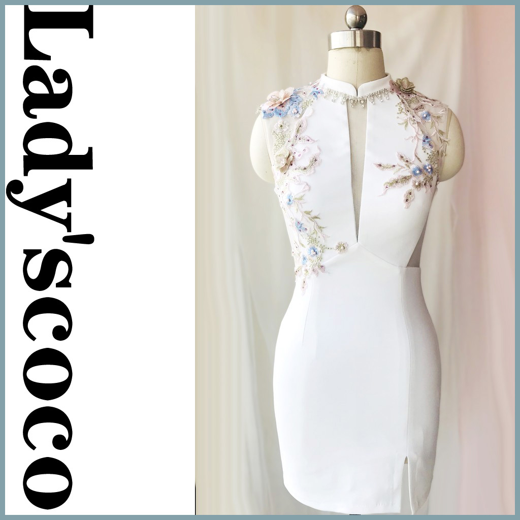 キャバドレス ナイトドレス  レースワンピース飾り付けYN1053