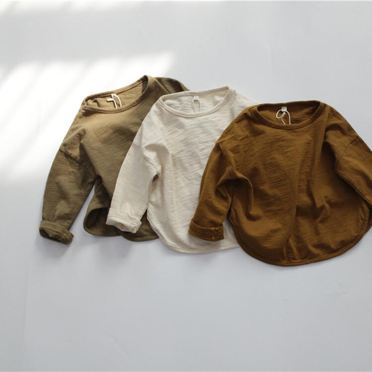 【即納】ラウンドネックTシャツ ユニセックス 韓国子供服 秋