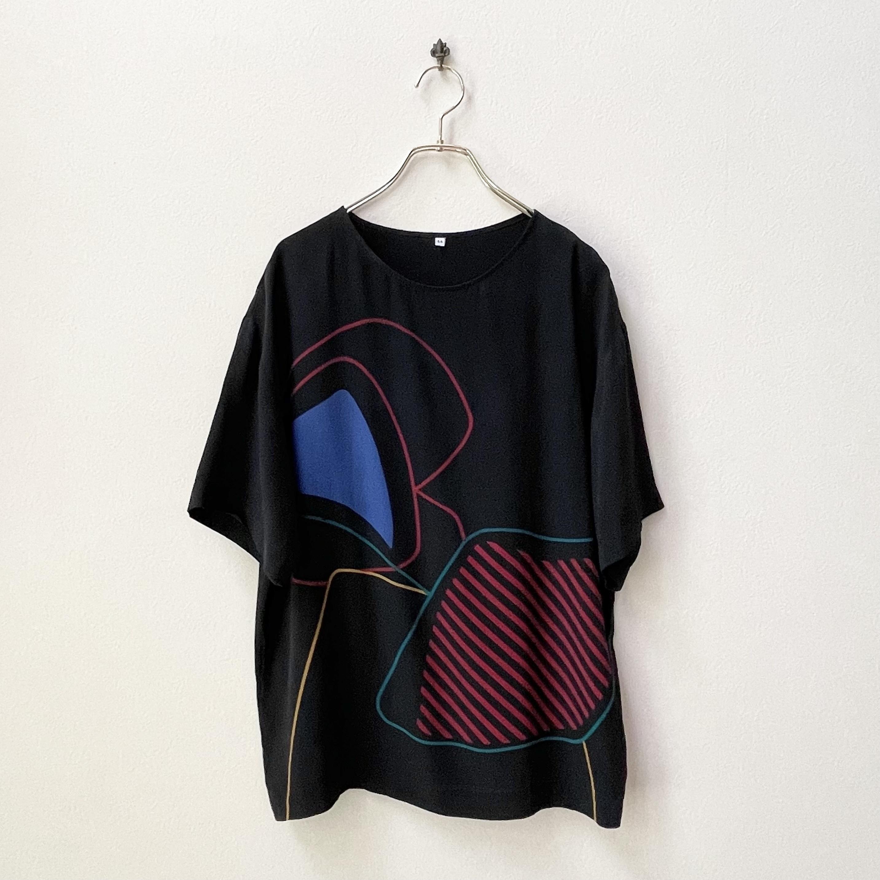 90年代 ユーロ ITALY製 モダンアートプリント シルク 半袖ブラウス ヨーロッパ 古着 日本LL