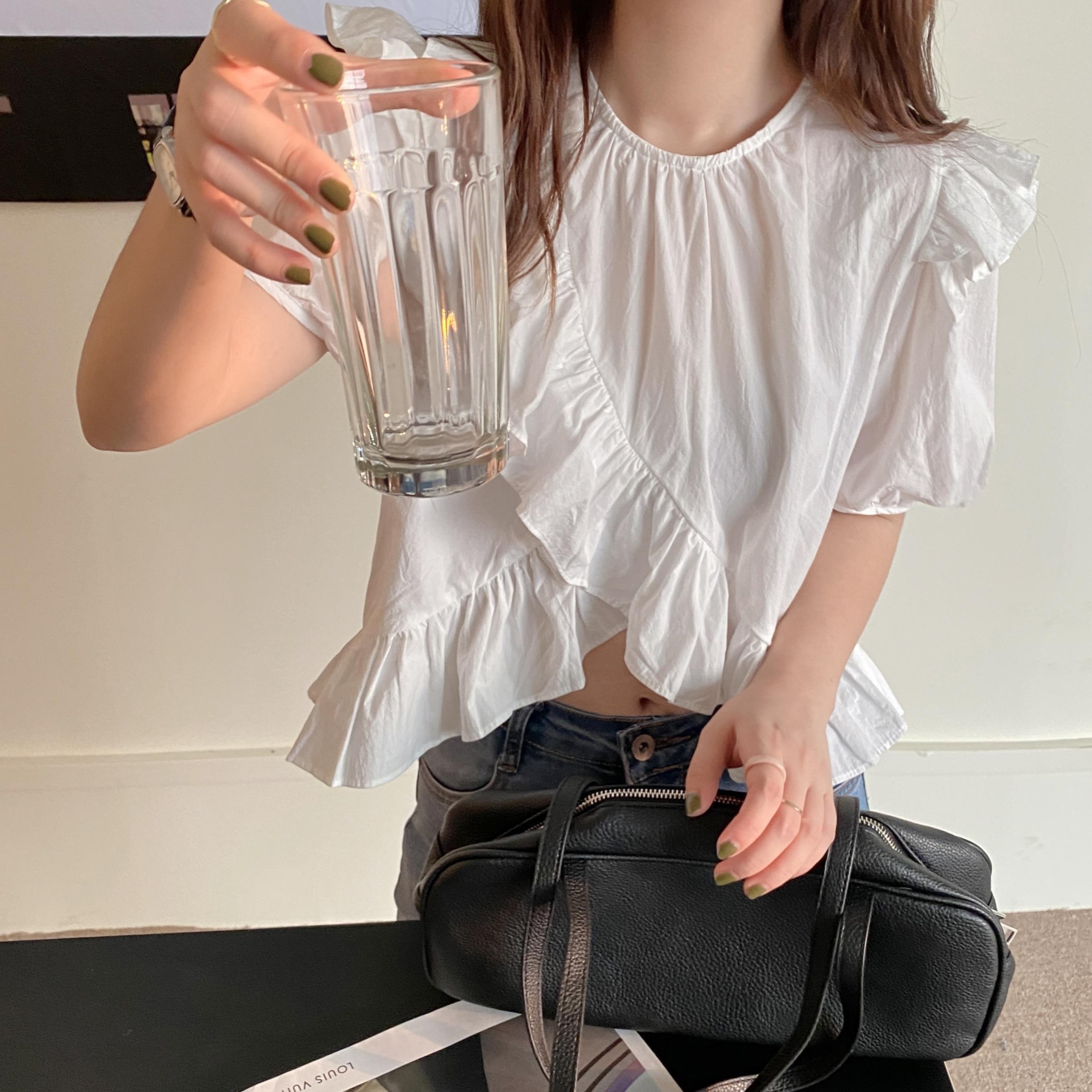 Front slit Frill blouse