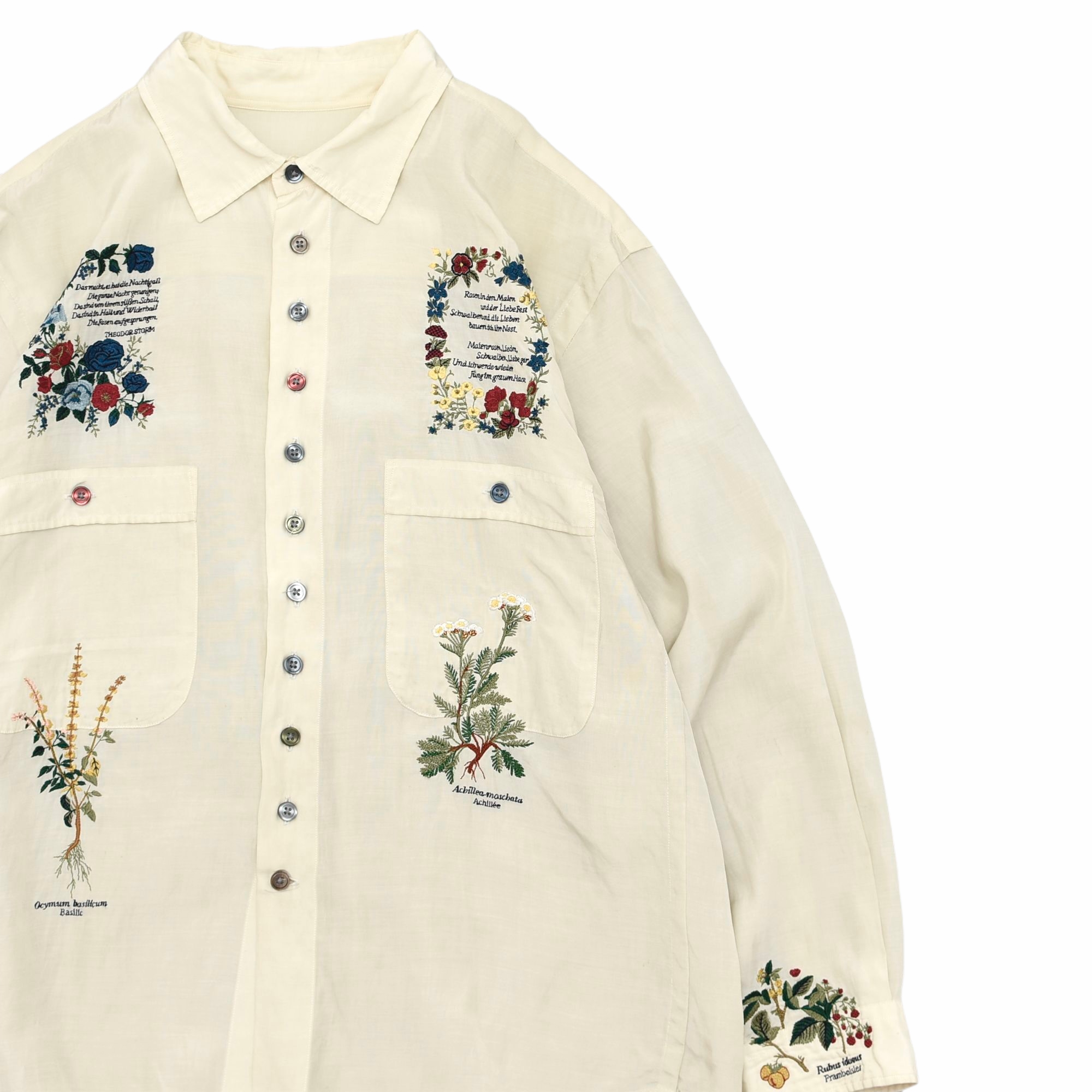 Flower embroidery colorful button shirt