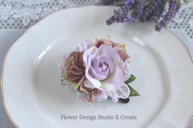 ペールピンクの薔薇と紫陽花のヘアクリップ(ラウンドタイプ) 結婚式 フォーマル 髪飾り