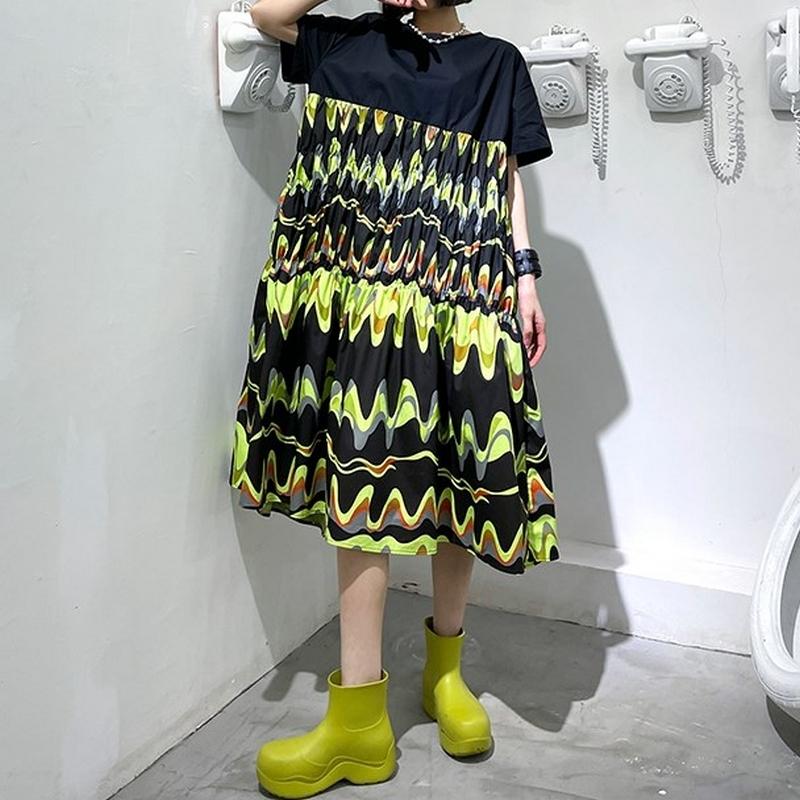 ポート風半袖ドレス   1-029