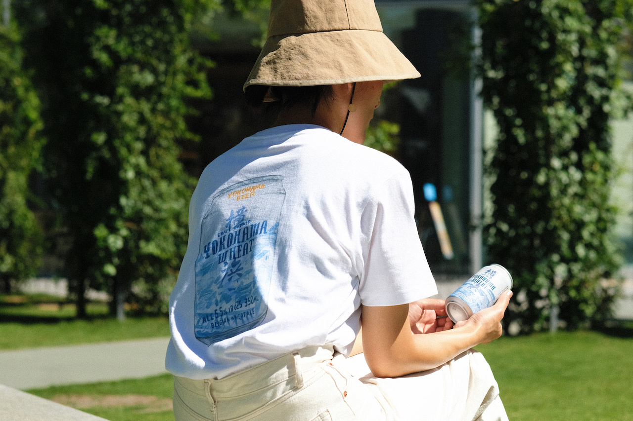 横浜ウィート缶イラスト バックプリントTシャツ