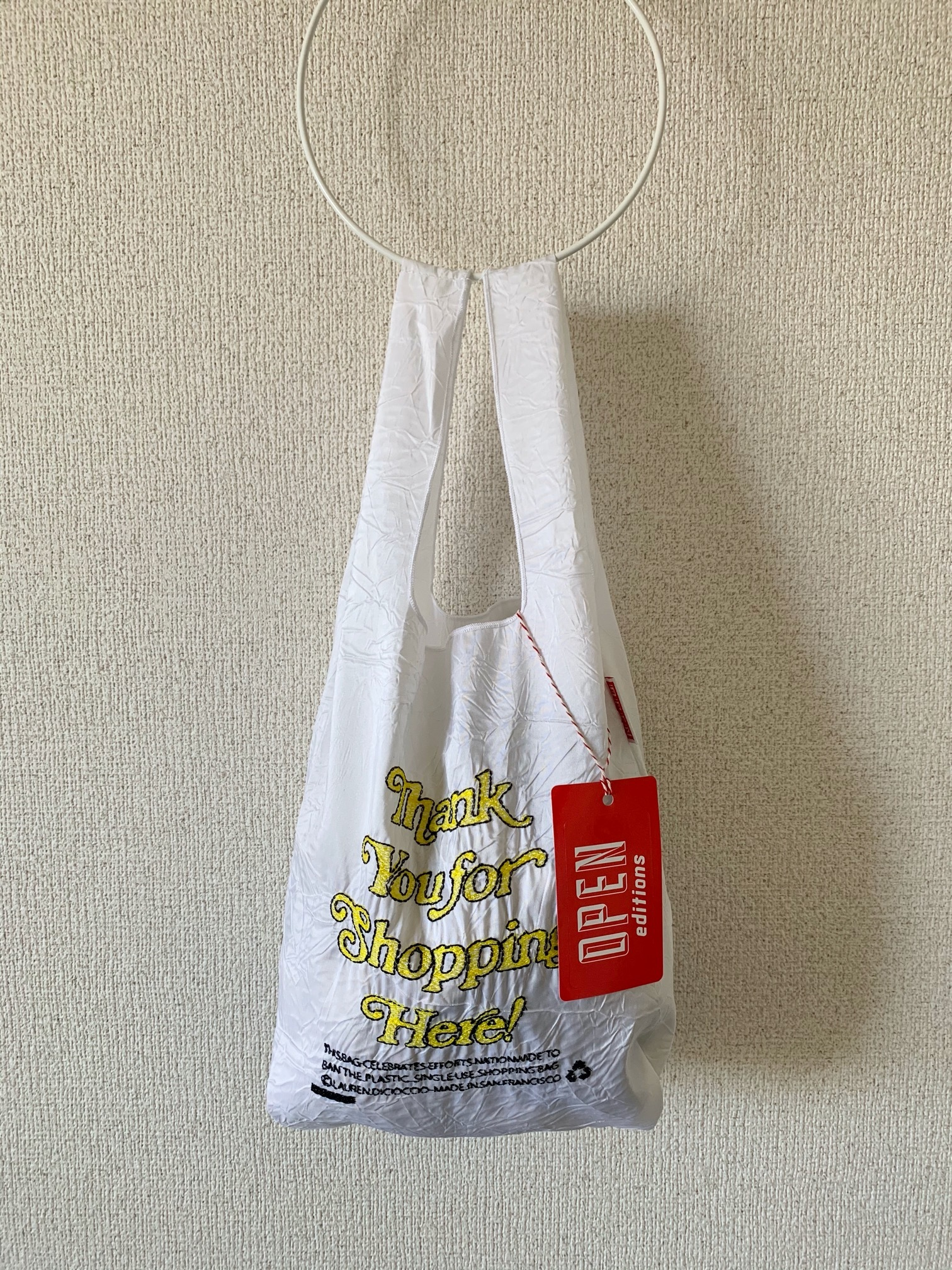 【OPEN EDITIONS / 送料無料】THANK YOU MINI エコバッグ/ THANK YOU FOR SHOPPING HERE White