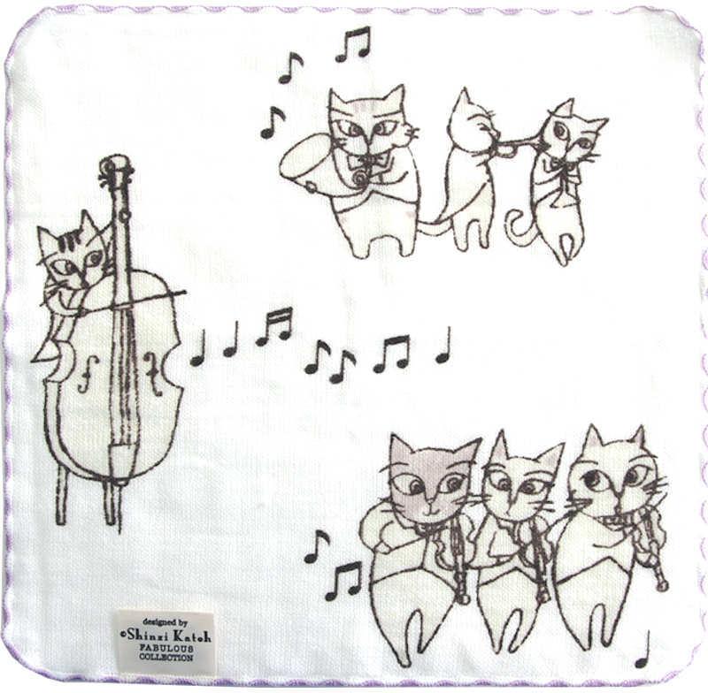 【在庫少】タオルハンカチ 猫のオーケストラ/グレー